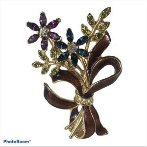VTG Monet Colored Rhinestones Floral Bouquet Pin